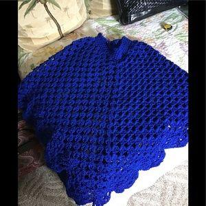 Crocheted blue poncho scalloped edge blue